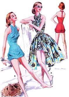 1950s Sizzling Swimsuit or Playsuit and Wrap Skirt Beachwear Pattern McCALLS 3613 Hot Criss Cross Bathing Suit or Bubble Romper T Strap Back Full Wraparound Skirt Perfect Resort Weekend Wear Bust 30 Vintage Sewing Pattern
