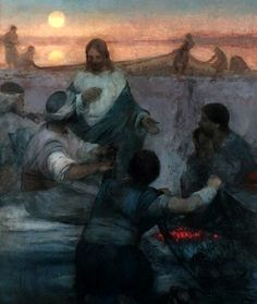"""J. Kirk Richards. Jesus and His disciples...""""I will make you fishers of men"""""""