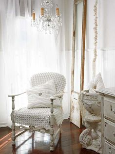 Shabby Chic ♥ chenille fabric, airy draperies, and sparkling crystal