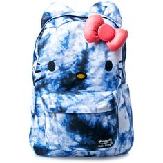 Loungefly Hello Kitty Tie Dye Backpack ($44) ❤ liked on Polyvore featuring bags, backpacks, vegan backpack, backpack bags, blue tie dye backpack, vegan leather bags and embroidered backpacks