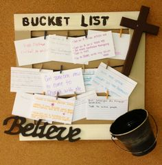 This bucket list is what my High School Sunday School class made in order to set goals for the semester. When the goal is complete they get to take their card down and put it in the bucket!