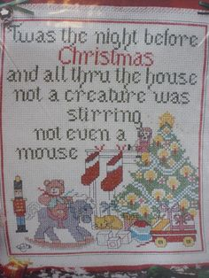 NEW Christmas Tradition Wall Hanging Cross Stitch Kit ~ No. 1910 #DesignsfortheNeedle