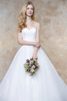strapless ivory ball gown statement long wedding dress pleated sweetheart
