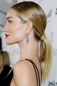 Ponytail Hairstyles – Style Ideas & Celebrity Ponytails - Rosie Huntington-Whiteley looked fantastic with a low sleek ponytail (Glamour.com UK)