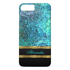 Elegant Turquoise Teal Blue Black and Gold 2 Barely There iPhone 6 Case