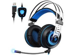 SADES A7 USB Gaming Headphone Blue Led Lighting 7.1 Surround Sound Professional Stereo Headsets with Microphone for Laptop PC