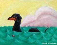 Dachshund magnet art Bone Thieves Magnet Dog Art by rubenacker