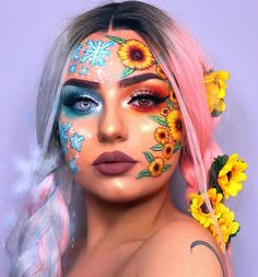 Newest and Colorful Eyeshadow Design Ideas and Images Part eyeshadow looks; eyeshadow looks step by step # makeup art Newest and Colorful Eyeshadow Design Ideas and Images Part 7 Cool Makeup Looks, Crazy Makeup, Cute Makeup, Pretty Makeup, Gorgeous Makeup, Colorful Eyeshadow, Colorful Makeup, Maquillage Normal, Eyeshadow Designs