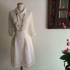 Vintage Style Peter Pan Collar Ivory Color Chiffon Dress on Carousell