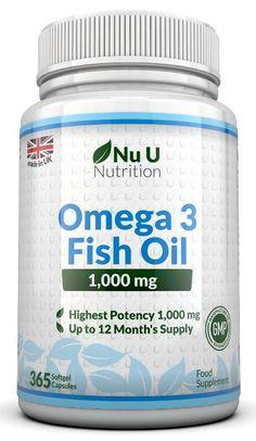 Omega 3 Olio di Pesce da 1.000 mg - 365 Capsule Softgel (Fornitura Per 1 Anno) - Integratori alimentari Nu U Nutrition