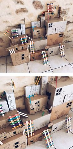 Build your own cardboard box town! Fun kids crafts and play activities from the . - Box , Build your own cardboard box town! Fun kids crafts and play activities from the . Build your own cardboard box town! Fun kids crafts and play activi. Kids Crafts, Toddler Crafts, Arts And Crafts, Cardboard Crafts Kids, Cardboard Boxes, Cardboard Box Ideas For Kids, Summer Crafts, Kids Craft Box, Cardboard Playhouse