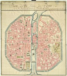 City map of Paris, France made for Frederick IV, king of Denmark, c. 1728. The North is to the left.