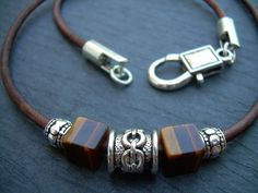 Leather Necklace, Gemstone Necklace, Tiger Eye, Mens Necklace, Mens Jewelry | MalibuCreek - Jewelry on ArtFire