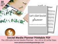 Social Media Printable Planner PDF / A4, A5 & Letter Size / 30 Pages Business Plan Marketing Facebook Instagram Pinterest / INSTANT DOWNLOAD