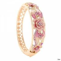 Wish | Luxurious Hollow Jewelry Elegant Plants Flowers Diamond Cloisonne Bracelet Bangle Gift