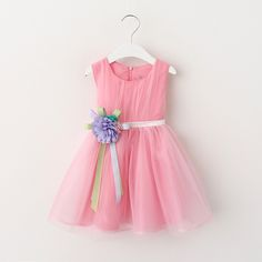 Купить товарДевушка платье 2016 лето новый цветочные девочка принцесса пачки платье 4 цвета детская платья для детей одежду с луком в категории Платьяна AliExpress.