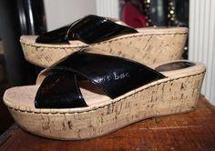 Born Black Patent Leather Wedge Sandal Women 8 #Born #wedgesandals