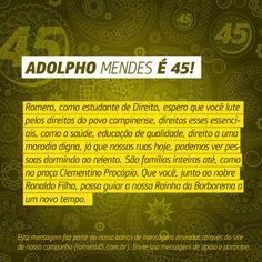 #MensagemPorAmorACampina enviada através do nosso site http://romero45.com.br/ Obrigado Adolpho. Lutarei pelo povo sempre.