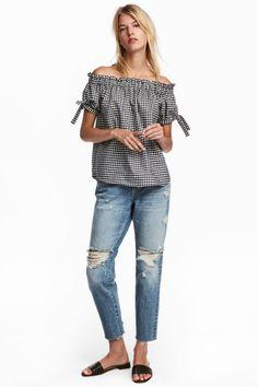 L2017 Girlfriend Jeans - Niebieski denim trashed - ONA | H&M PL 1