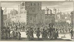 Jan Luyken | Stoet bij het uitrijden van de sultan met zijn gevolg, Jan Luyken, Charles Angot, 1689 | Prent rechtsboven gemerkt: I. Partie Pag. 272.