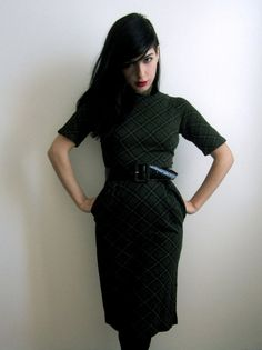 Olive Green and Black Plaid Dress.