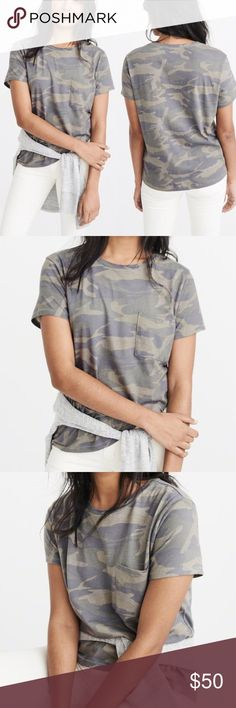 """Camo Boyfriend Tee T-Shirt Camouflage Trendy • Soft and lightweight fabric with a crew neckline, pocket at left chest and straight hem.  • Model is 5'8"""" wearing a small • 100% Cotton • Machine wash cold, with like colors • Only non-chlorine bleach • Tumble dry low • Low iron if needed • Do not dry clean Tops Tees - Short Sleeve"""