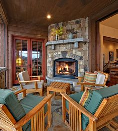 Covered deck | fireplace