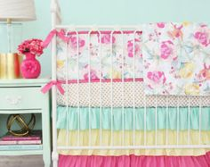 mint pink yellow crib – Etsy