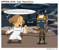 Swtor PVP webcomics on operative DPS Coffee Drinkers, Pvp, Cats, Fictional Characters, Gatos, Coffee Lovers, Cat, Fantasy Characters, Kitty