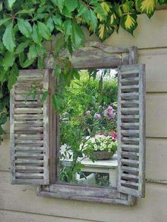 Frame mirror with shutters for yard