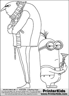 Despicable Me 2 - Gru and Minion #2 Bee Boo Bee Boo - Coloring Page