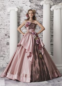 I love these elaborate floral ball gowns! I can't say that there'd be any reason or occasion to wear one--but they would be stunning for a photo shoot or something. Ball Dresses, Ball Gowns, Prom Dresses, Moda Lolita, Barbie Mode, Fantasy Dress, Quinceanera Dresses, Beautiful Gowns, Dream Dress