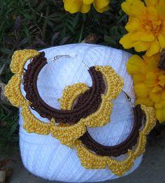 Golden Sunflower Crocheted Hoop Earrings by NinaMarieCrochet,