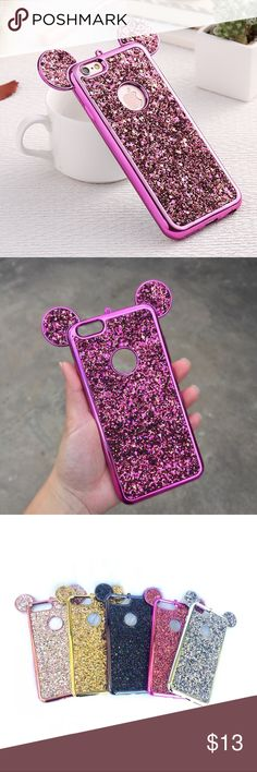 ❤︎ Mickey Ears Hot Pink Bling Glitter iPhone Cases This listing is for a gorgeous hot pink glitter Mickey ear iPhone case. Available for iPhone 6/6s, iPhone 6/6s plus, iPhone 7, and iPhone 7 plus. Cases are made out of soft plastic so is lightweight and flexible. Check my other listings for more colors.  Accessories Phone Cases