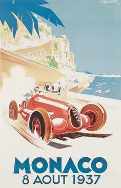 Geo Ham - 1937 monaco grand prix race - love this retro poster Art Posters Uk, Car Posters, Poster Prints, Old Poster, Retro Poster, Pub Vintage, Vintage Racing, Vintage Wood, Vintage Labels