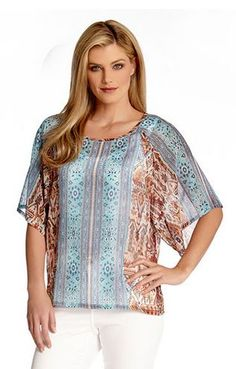 EXOTIC BAJA PRINT RAGLAN SLEEVE TOP #Karen_Kane #Baja #Breeze #Turquoise #Blue #Print #Raglan #Sleeve #Top #Fashion