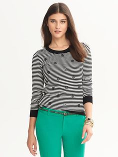 BW top with green pants