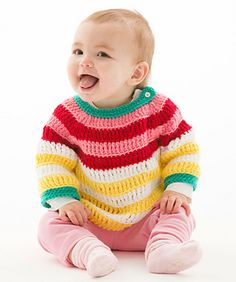 This comfortable sweater is striped in bright colors that babies love. Rows of triple crochet make this quick to crochet. Baby Hugs yarn makes all the things you knit or crochet for those precious little ones contain nothing but love. That's because Red Heart Baby Hugs is tested and certified free of over 100 harmful chemicals and allergens.