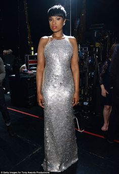 Shining bright: Jennifer Hudson did not disappoint as she highlighted her slender frame in a stunning silver gown at the 68th Annual Tony awards on Sunday