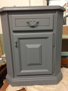 Solid pine bedside cabinet painted in Frenchic Al Fresco Greyhound ❤️ Bedside Cabinet, Filing Cabinet, Solid Pine, Painting Cabinets, Dining Room Table, Fresco, Painted Furniture, New Homes, Kitchen Appliances