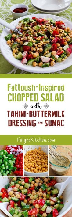 If you're a fan of the Lebanese salad called Fattoush, you'll love this Fattoush-Inspired Chopped Salad with Tahini-Buttermilk Dressing, Sumac, and Pine Nuts, and this tasty vegetarian salad is gluten-free and South Beach Diet friendly. [found on KalynsKitchen.com]