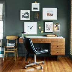 Paired back and fashion forward, this minimalist desk chair in top-grain leather offers maximum comfort. The Malibu Desk Chair is inspired by workspaces of the and Metal casters make for ease of movement within the workspace or home office. Home Office Space, Home Office Decor, Office Furniture, Home Office Paint Ideas, Masculine Office Decor, Office Setup, Small Office, Retro Office, Office Style