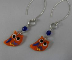 Glass Orange and Purple Owl Earrings by OnlyOriginalsByAJ on Etsy, $8.00