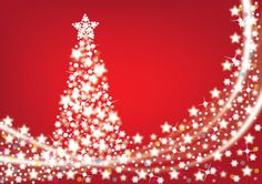 Decorative Christmas Tree made of stars. Based on red color background. Free for download