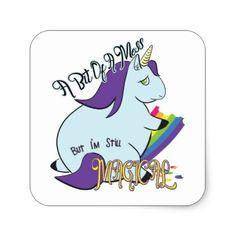 #Chubby Unicorn Eating a Rainbow - A Magical Mess Square Sticker - #funny #unicorn #unicorns #horse #horses #magical #colourful #fantasy