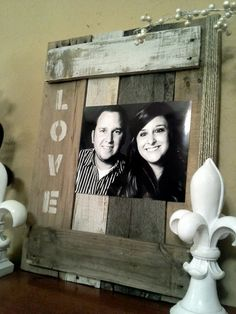 Pallet Picture Frame with Stencil  on side on Etsy, $44.00 @Tammy Vinson   Craft idea for ur pallets!