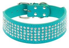 Berry Pet Rhinestones Dog Collars - 5 Rows Full Sparkly Crystal Diamonds Studded PU Leather - 2 Inch Wide -Beautiful Bling Pet Appearance for Medium and Large Dogs * Don't get left behind, see this great dog product : Collars, Harnesses and Leashes