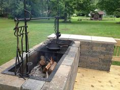 Backyard Fire Pit Bbq Pizza Ovens Ideas For 2019 Fire Pit Grill, Fire Pit Backyard, Bbq Grill, Barbecue Pit, Stone Backyard, Outdoor Stone, Outdoor Fire Pits, Gas Bbq, Fire Pit On Wood Deck