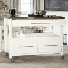 Belham Living Concord Kitchen Island with Stools - White