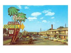 The Palms Motor Hotel, Vintage Motel Giclee Print